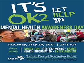 Flyer for Department of Behavioral Health Celebrates Mental Health Awareness Day