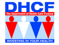 DHCF, the Department of Health Care Finance, invest in your health with four figures in center
